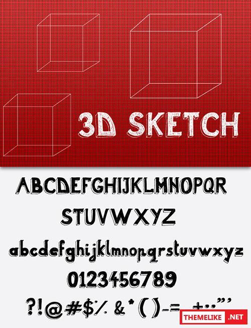 3d Sketch Font Befontscom