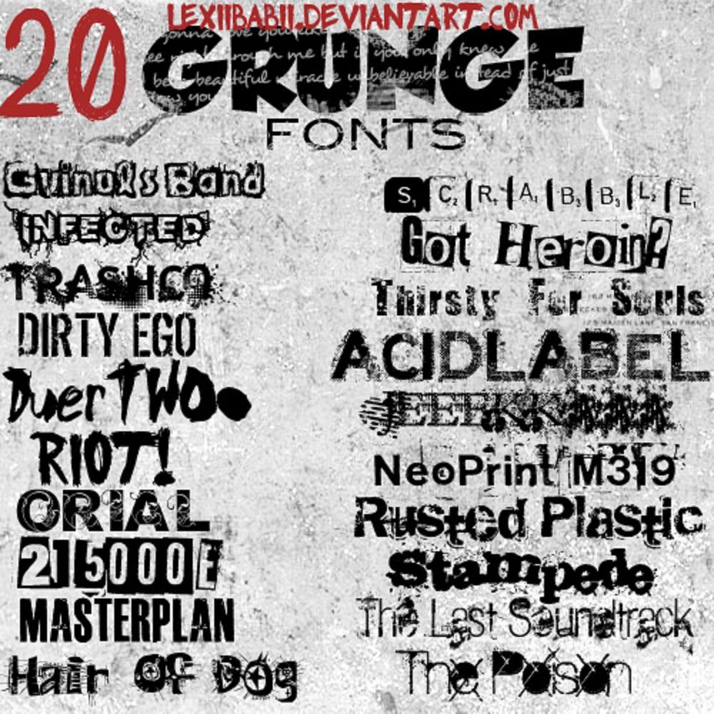 20 Grunge Fonts TTF OTF