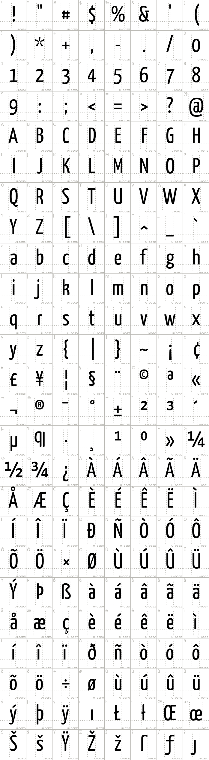 yanone-kaffeesatz.regular.character-map-1