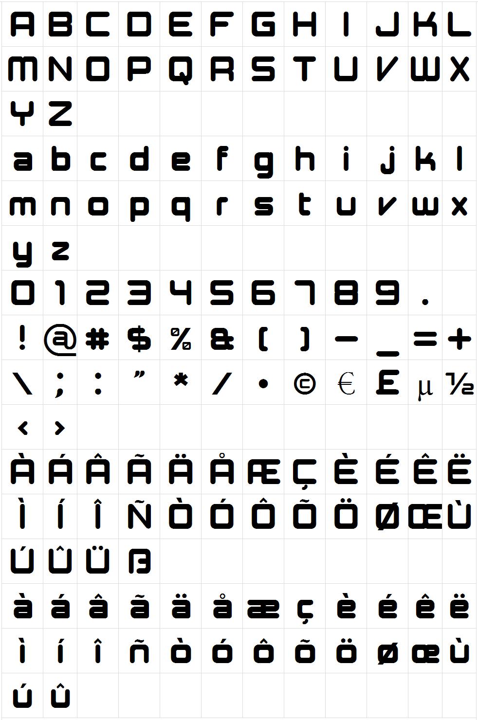 Presario Text font map