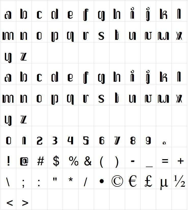 Upakarti font map