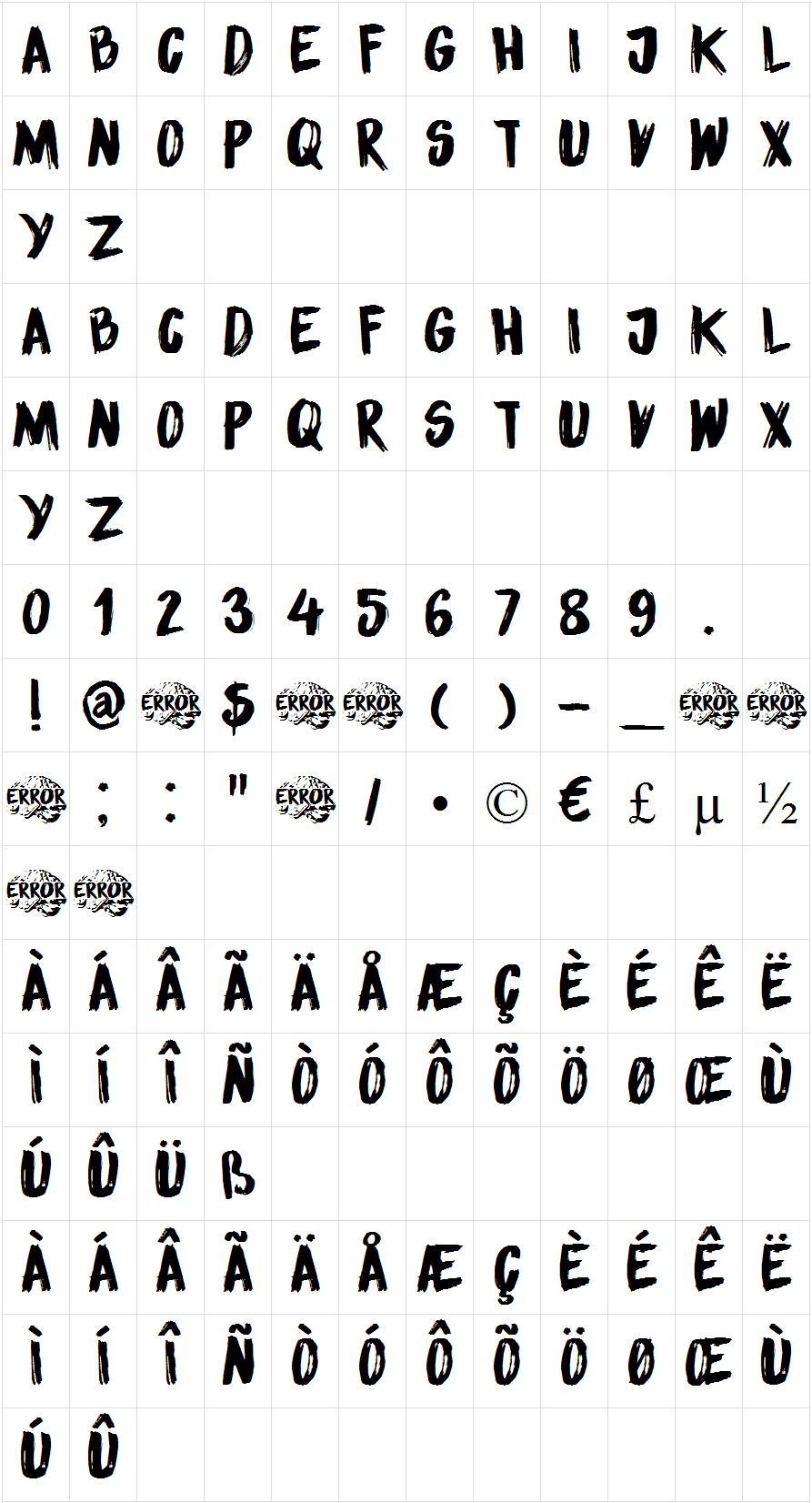 DK Sensory Overload font map