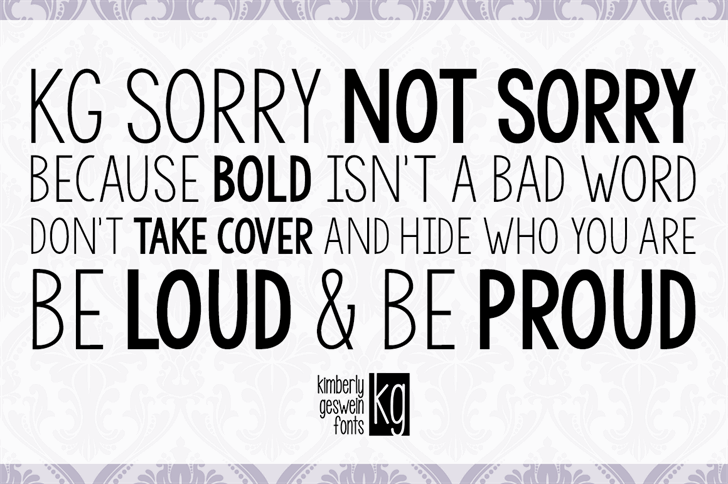 KG Sorry Not Sorry font - Befonts com