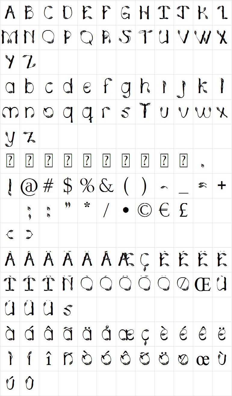 Hojas de plata font