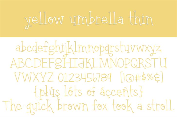 yellow umbrella font — Created in 2016 by Brittney Murphy Design 4