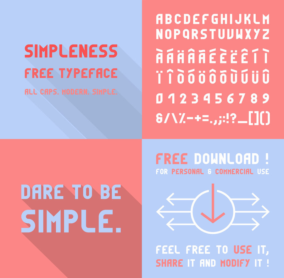 Simpleness Is An All Caps Minimalist Typeface Inspired By The Bauhaus Movement Feel Free To Use It Or Modify It As You Wish