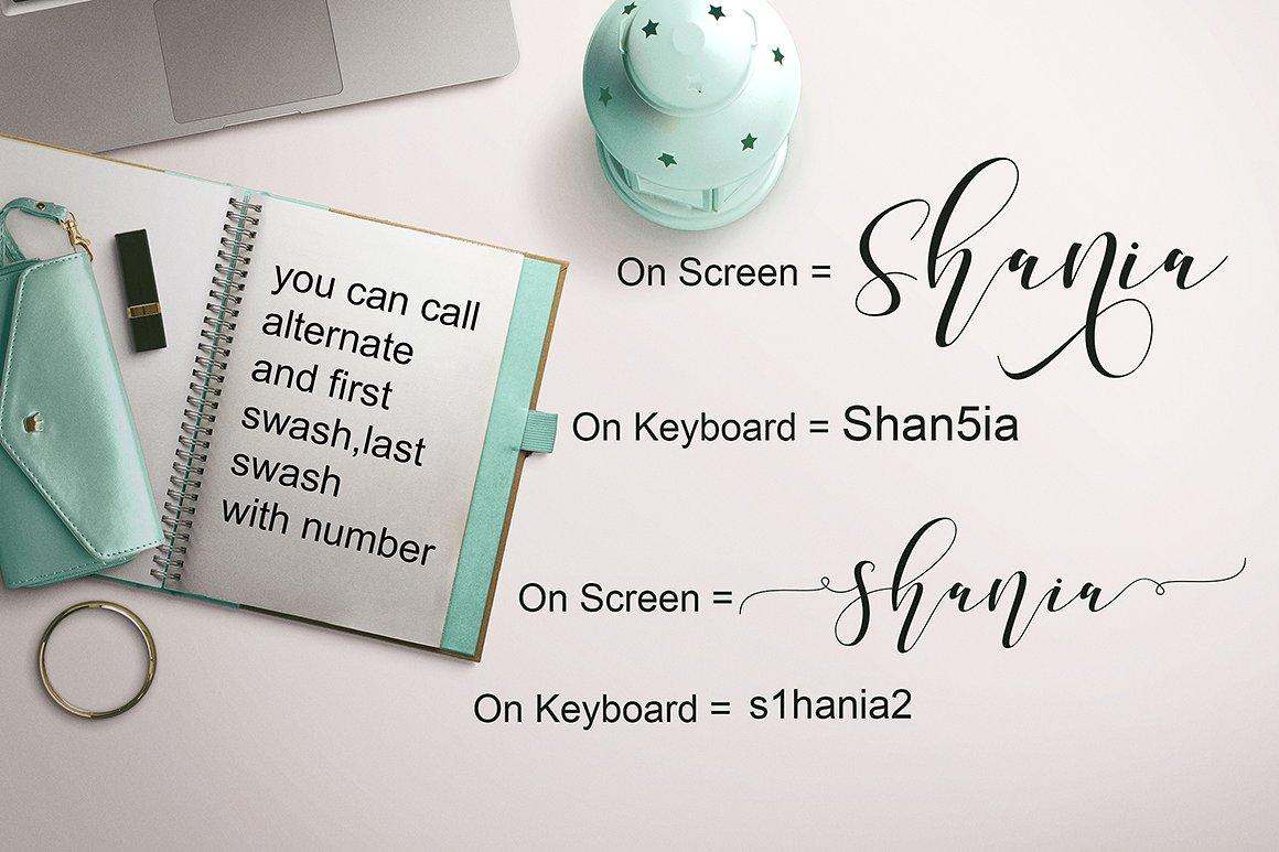 Shania script font befonts