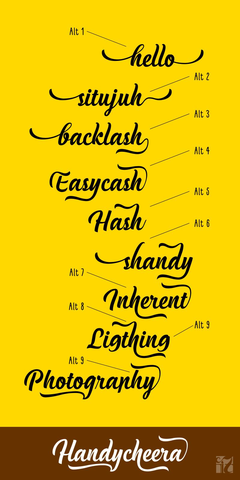 Handycheera script font befonts