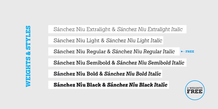 Sánchez Niu Font Family
