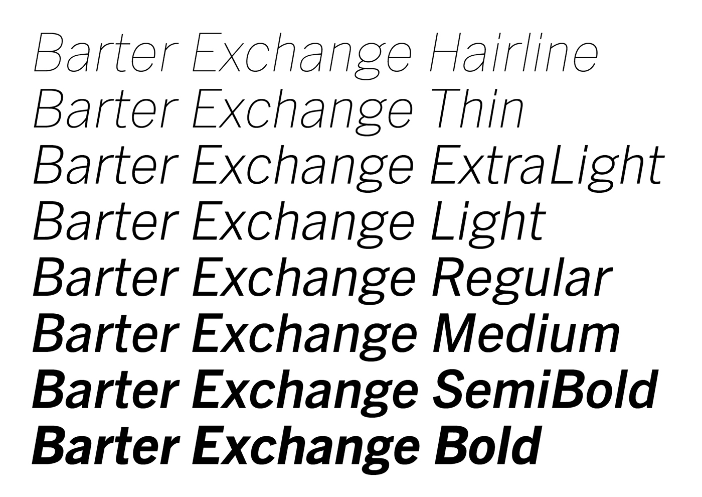 Barter Exchange Typeface