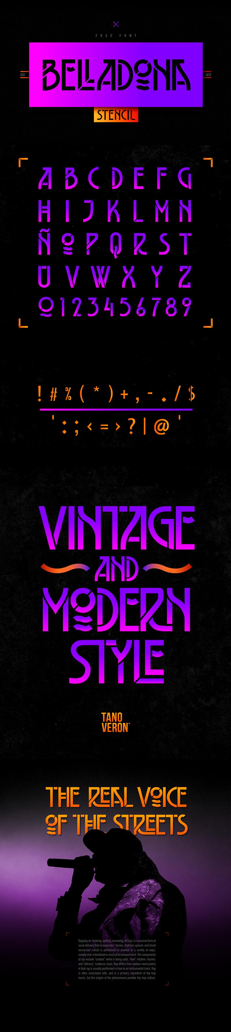 Belladona Stencil Typeface