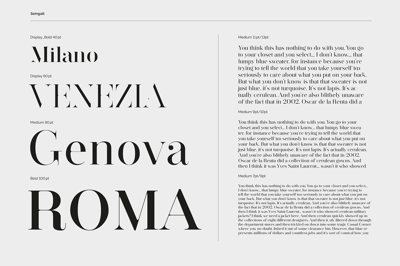 Seingalt Typeface
