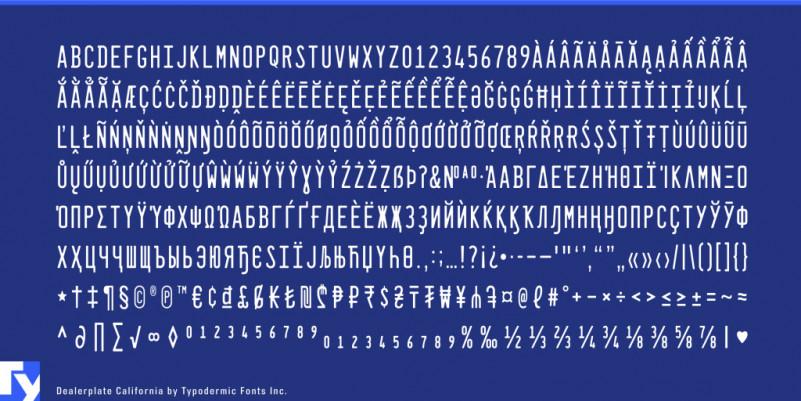 Dealerplate Font Family