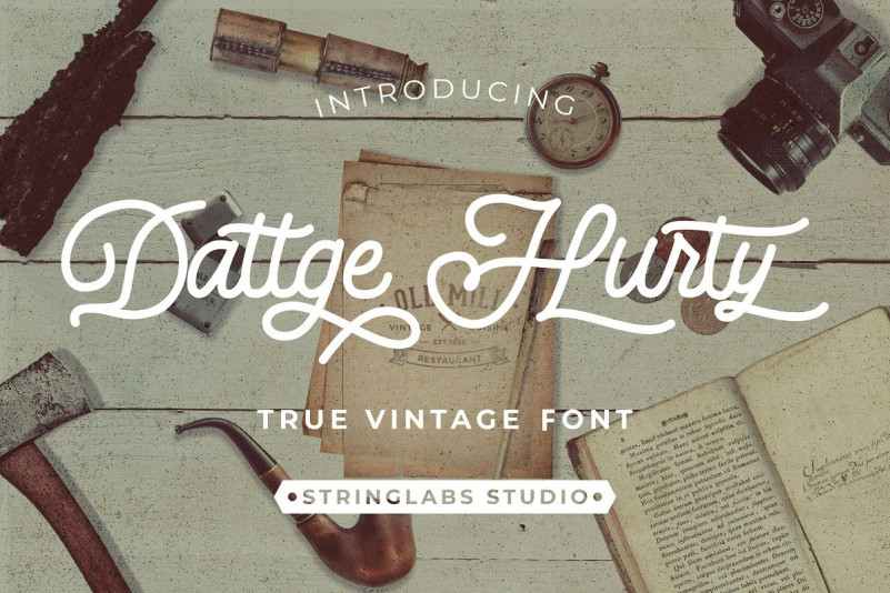 Dattge Hurty - Monoline Retro Font