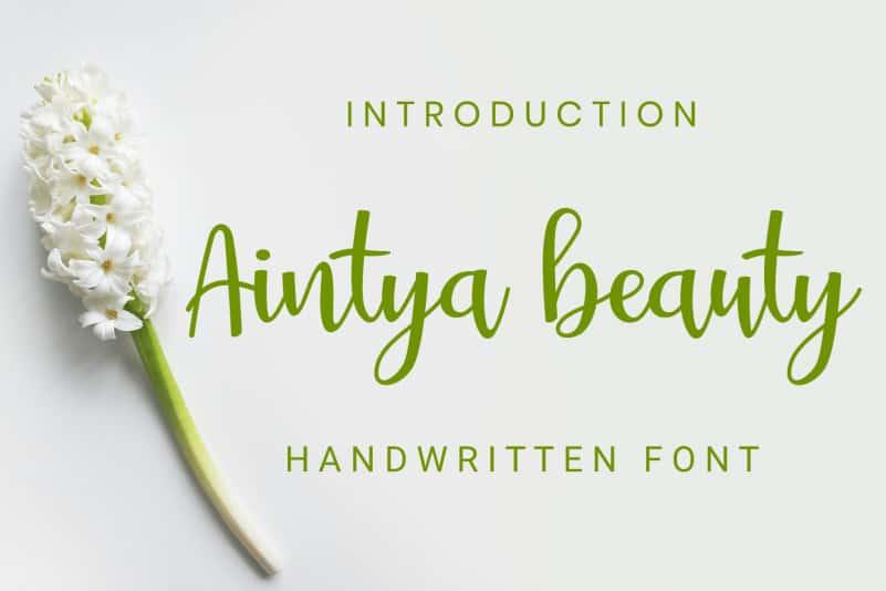 Aintya beauty Handwritten Font