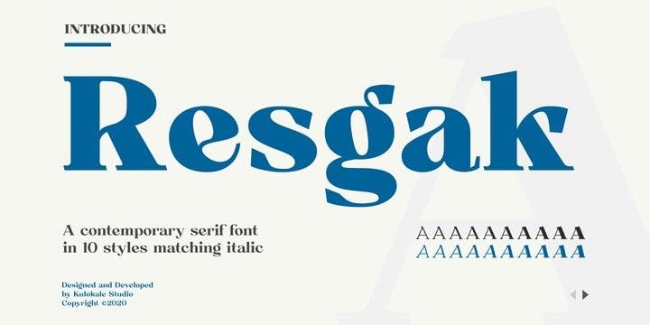Resgak Serif Font