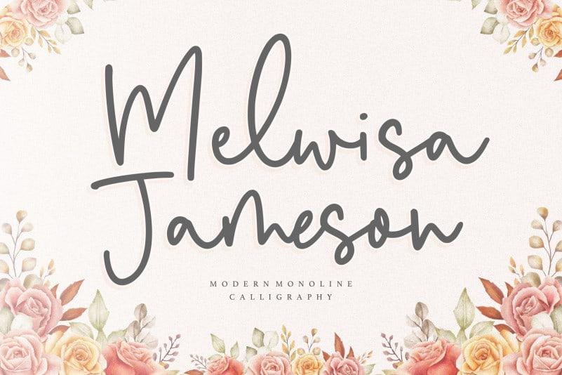 Melwisa Jameson Monoline Calligraphy Font