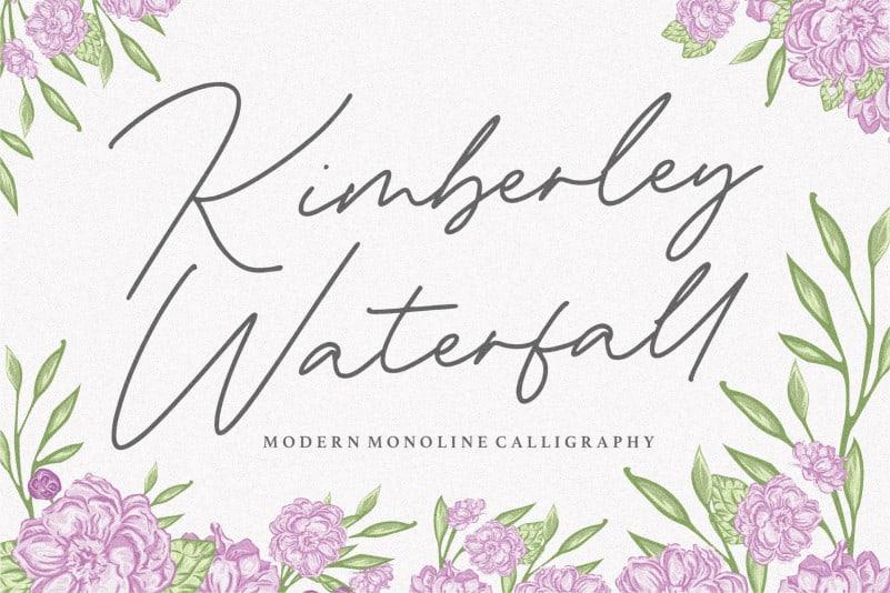 Kimberley Waterfall Monoline Calligraphy Font