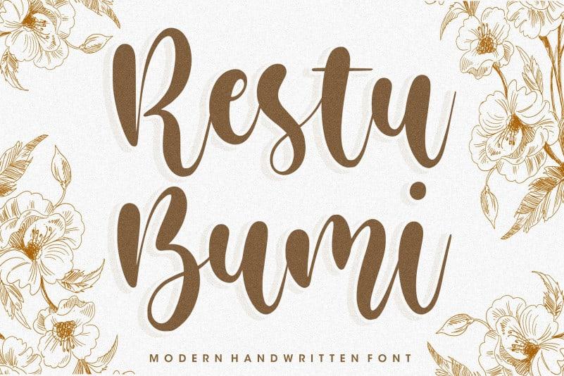 Restu Bumi ,Modern, Handwritten Font