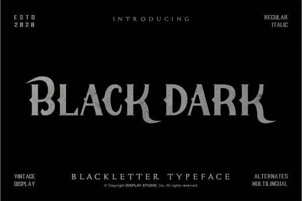 Black Dark Display Font