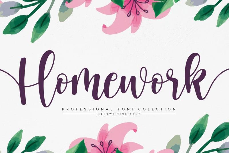 Homework Script Font