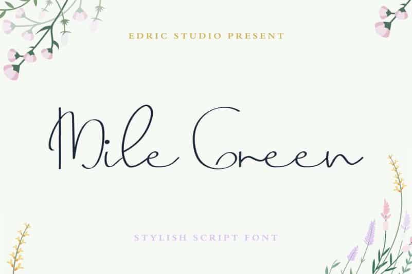 Mile Green Signature Font