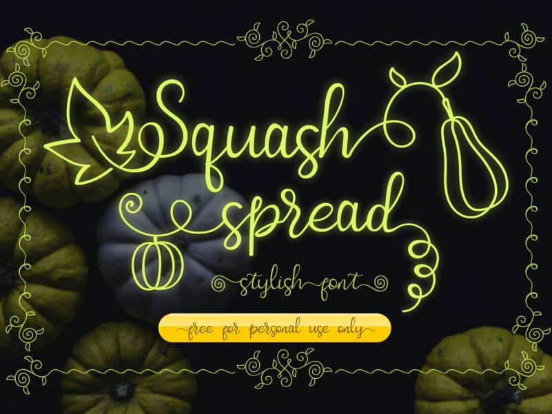 Squash Spread Calligraphy Font
