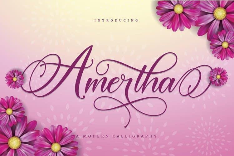 Amertha Calligraphy Font