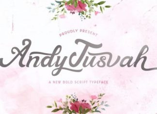 Andy Tusvah Calligraphy Font