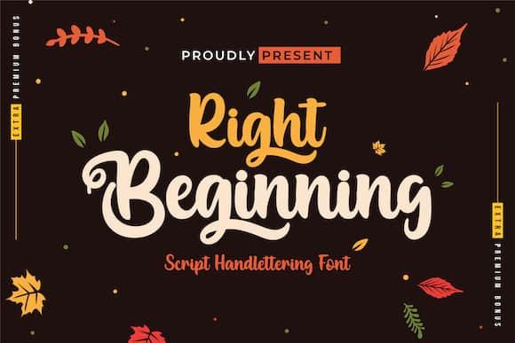 Right Beginning Script Font