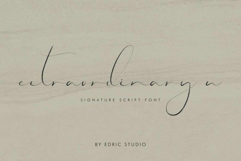 Extraordinary U Calligraphy Font