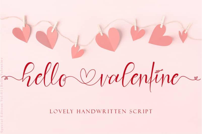 Hello Valentine Calligraphy Font